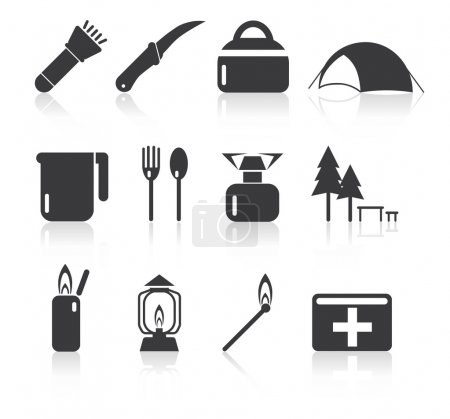 Camping simple icon set
