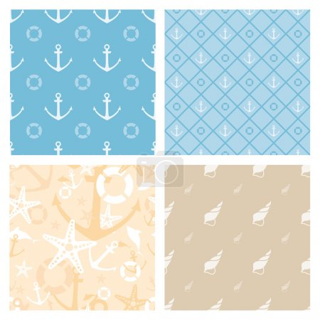 Set of 4 marine themed seamless vector patterns