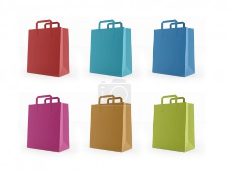 Six colored shopping bag rendered isolated