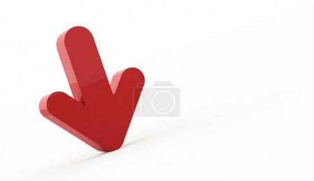Single red arrow business concept rendered isolated on white background