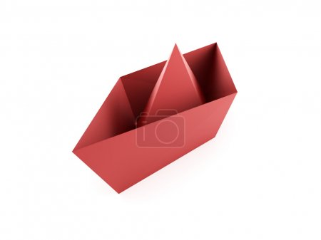 Photo for Red paper boat concept isolated on white background - Royalty Free Image