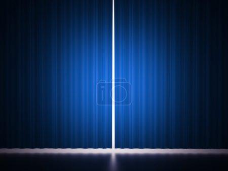 Photo pour Scène rideau bleu rendu - image libre de droit