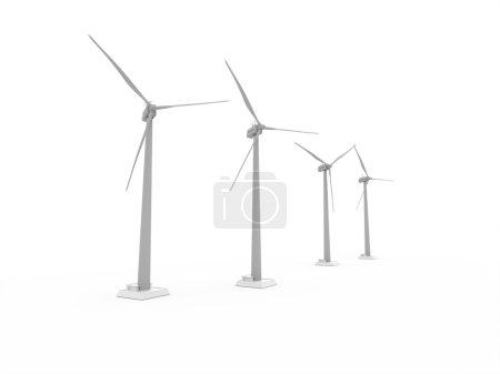 Wind propeller turbines rendered