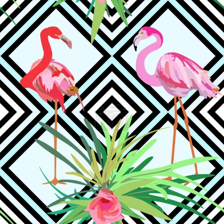 Illustration for Drawing a pair of red and pink flamingos, a striped background with flowers seamless pattern - Royalty Free Image