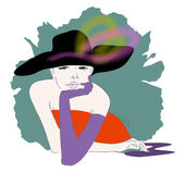 Abstract sketch of girl in black hat purple glove orange dress Women's clothing collection Fashion