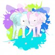 Cute pair of elephants, illustration with splash w...