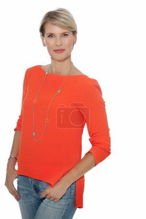 Elegant Woman In Orange Blouse