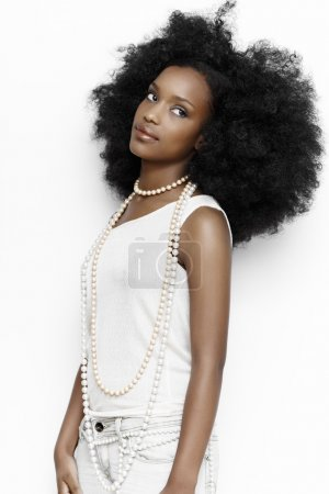 Photo for African girl wearing casual white clothes. - Royalty Free Image