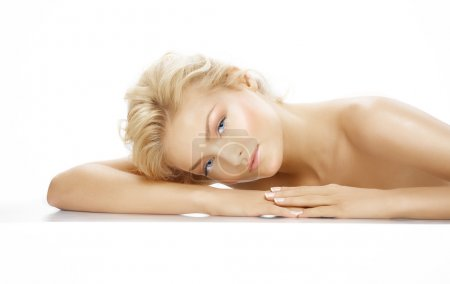 Photo for Caicasian blond model resting. - Royalty Free Image