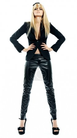 Blonde model wearing leather pants....