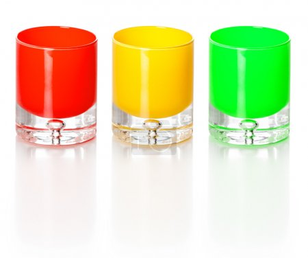 Photo for Three colorful glass candle holders isolated over white background. - Royalty Free Image