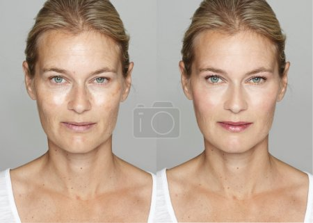 Photo for Woman before and after digital makeup and retouching makeover on face. Transformation concept. - Royalty Free Image