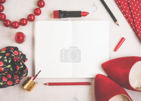 Photo for Still life of fashion woman. Feminine cosmetic background. Overhead of essentials fashion woman objects - Royalty Free Image