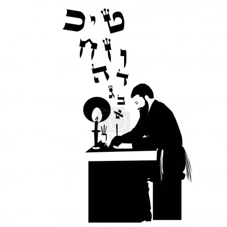Illustration for A figure of an ultra Orthodox Torah observant Jew, with a beard, kippah and tassel, sitting and writing a mezuzah. He holds in his hand a processed feather and next to it ink and a rolled parchment - Royalty Free Image