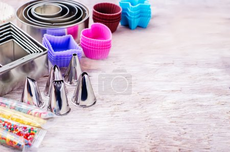 Photo for Tools for baking on white wood background. tinting. selective focus - Royalty Free Image