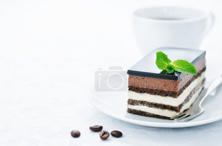 Photo for Opera cake on a white background. tinting. selective focus - Royalty Free Image