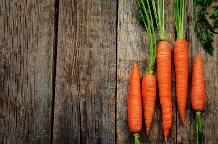 Photo for Carrot on a dark wood background. tinting. selective focus - Royalty Free Image