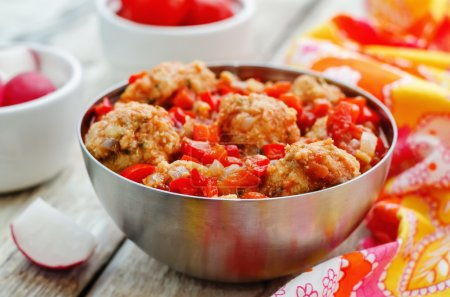 Photo for Fish balls in tomato sauce. the toning. selective focus - Royalty Free Image