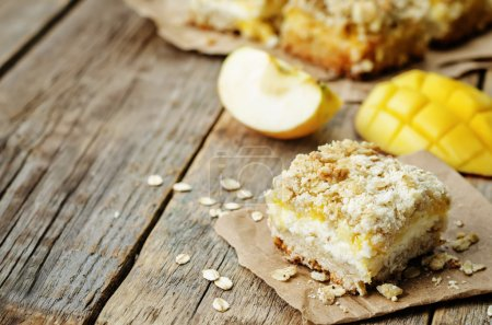 Photo for Apple mango cream cheese oat bars. the toning. selective focus - Royalty Free Image