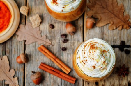Photo for Ice honey pumpkin spice latte with whipped cream. the toning. selective focus - Royalty Free Image