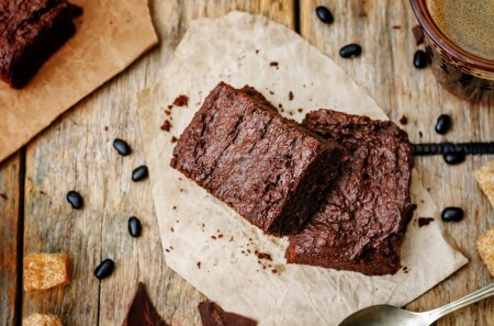 Photo for Black bean brownies on a dark wood background. the toning. selective focus - Royalty Free Image