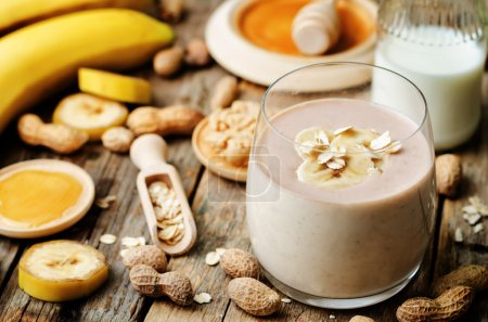 Photo for Banana oat peanut butter smoothies. the toning. selective focus - Royalty Free Image