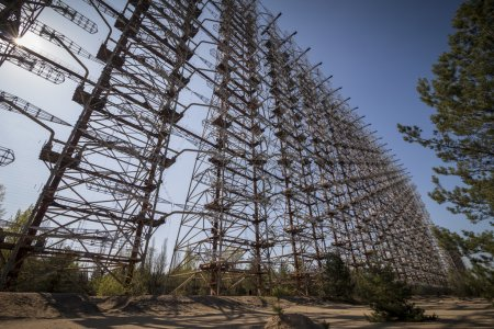 Photo for Duga-3 was a soviet early warning radar for anti-ballistic missile system located near Chernobyl. Now it is abandoned. - Royalty Free Image
