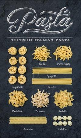Photo pour Différents types de pâtes non cuites italiennes sur fond de table en bois rustique, vue de dessus - image libre de droit