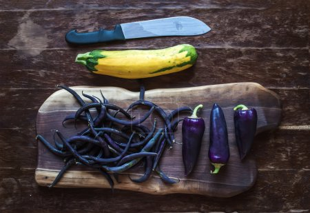 Chili peppers, beans and yellow zucchini