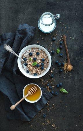 Rustic healthy breakfast set.