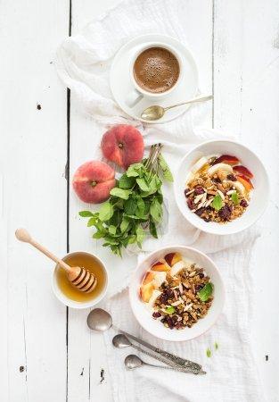 Bowl of oat granola with yogurt