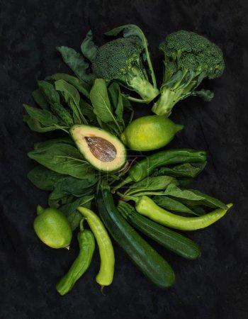 Raw green vegetables set.
