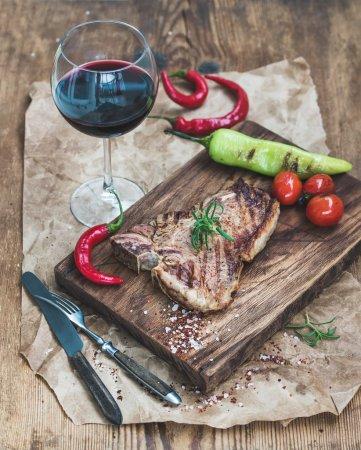 Cooked meat t-bone steak