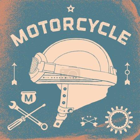 Poster of vintage race motorcycle helmet. Retro old school set. Vector Illustration.