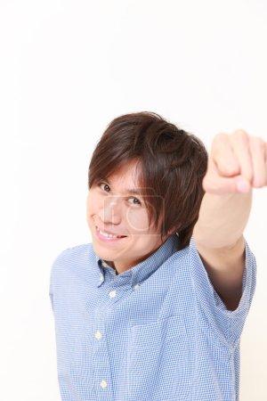 Photo pour Plan studio de jeune Japonais sur fond blanc - image libre de droit