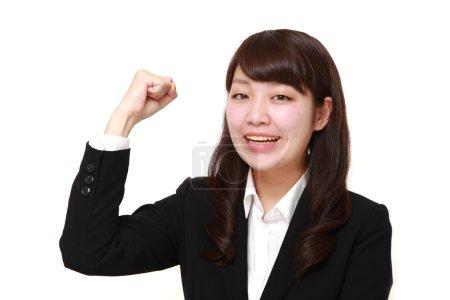 Photo pour Plan studio de jeune femme d'affaires japonaise sur fond blanc - image libre de droit