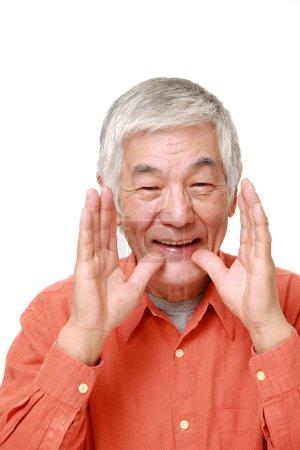 Photo for Studio shot of senior Japanese man on white background - Royalty Free Image