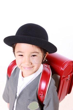 Japanese Schoolgirl With Red Satchel Smiles