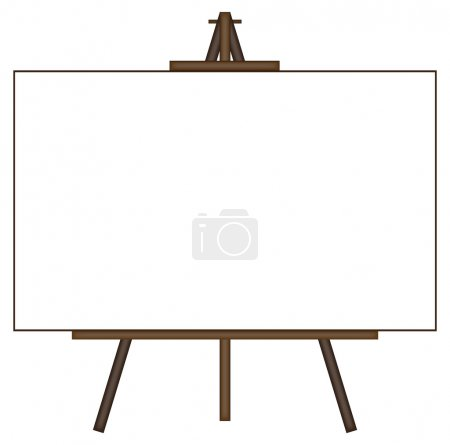 Illustration for A blank canvas on an easel isolated on a white background - Royalty Free Image