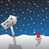 North Pole Signpost and Santa Hat