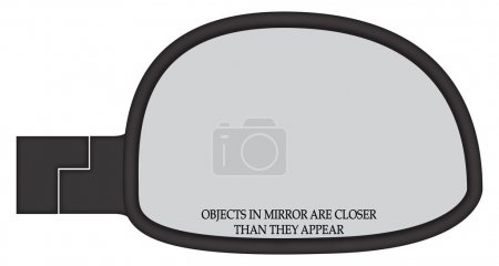 Illustration for A car side mirror with a warning sticker isolated on a white background - Royalty Free Image