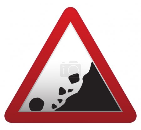 Illustration for A triangular rocks falling roadsign isolated on a white background - Royalty Free Image