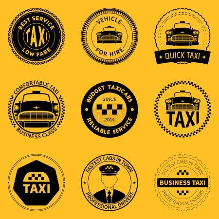Illustration pour Ensemble d'insignes de taxi, logos et étiquettes sur fond jaune. illustration vectorielle - image libre de droit