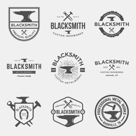 set of blacksmith vintage logos, emblems