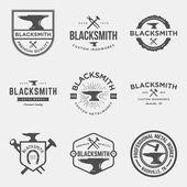 set of blacksmith vintage logos emblems