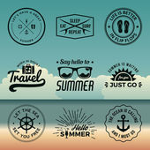 Vector set of summer quotes emblems and design elements on beach background