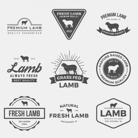 Illustration for Vector set of premium lamb labels, badges and design elements - Royalty Free Image