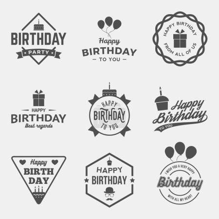Happy birthday vintage labels set