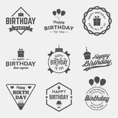 Happy birthday vintage labels set vector illustration