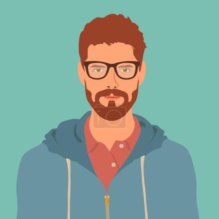 Illustration pour Caractère hipster plat. élégant jeune homme avec des lunettes. icône avatar. homme illustration vectorielle - image libre de droit